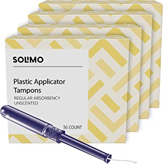 Amazon Brand - Solimo Plastic Applicator Tampons, Regular Absorbency, Unscented, 144 Count, 4 Packs of 36