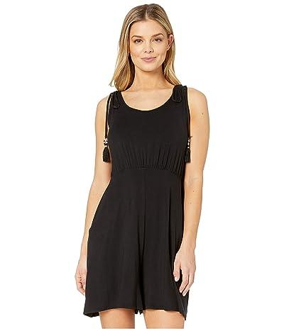 DOTTI Resort Solids Elastic Waist Tank Dress Cover-Up (Black) Women