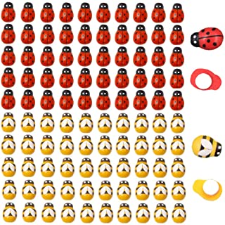 120pcs Wood Bees and Wood Ladybugs, Flatback Bees Wooden Ladybugs Self-Adhesive Embellishments for Craft Scrapbooking Baby...
