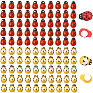 120pcs Wood Bees and Wood Ladybugs, Flatback Bees Wooden Ladybugs Self-Adhesive Embellishments for Craft Scrapbooking Baby Shower Birthday Party Decoration