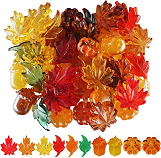 210pcs Mini Fall Leaves Pumpkin Acorns Acrylic Autumn Table Scatter for Fall, Autumn and Thanksgiving 26 Ounces