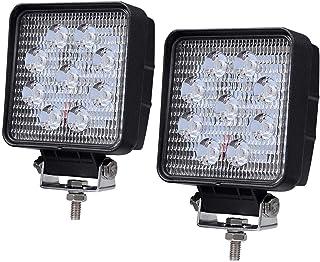 TODYER LEDライトバー 2個 4inch 27W広角60度スクエアLEDポッドライト洪水ライトオフロードライトLedフォークライトトラックライトライトボートライトトラックピックアップジープSUV ATV UTV防水、1年間の保証。