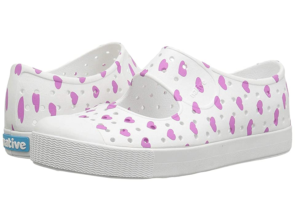 Native Kids Shoes Juniper Print (Little Kid) (Shell White/Shell White/Peace Purple Heart Print) Girls Shoes