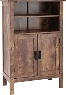 USIKEY Retro Wooden Bookcase with Double Door, Storage Cabinet with Shelves, Bathroom Cabinet, Storage Rack Shelf for Book...