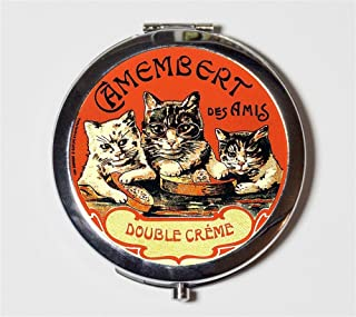 French Cats Compact Mirror Vintage Creme Advertising Cat Animal Art Make Up Pocket Mirror for Cosmetics