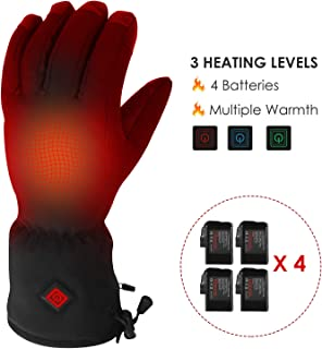 luxilooks Electric Heated Gloves with 4 Rechargeable Batteries for Men Women, Thermal Touchscreen Gloves with 3 Heating Temperature, for Winter Outdoor Sports Cycling Climbing Skiing Skating Hiking