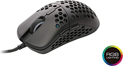 HK Gaming Mira S Ultra Lightweight Honeycomb Shell Wired Gaming Mouse - 6 Buttons - 2.1 oz (61 g) (12 000 cpi, Black)