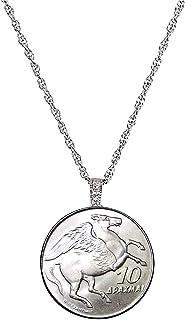 Greek Pegasus 10 Drachma Coin Pendant Silvertone Necklace