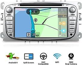 BXLIYER Android 9.0 Autoradio Compatible para Ford Focus/Mondeo/S-Max/C-Ma/Galaxy Coche Navegacion GPS Bluetooth WLAN Mirror-Link DAB+|2 Din 7 pulgadas 2G+32G Octa Core|LIBRE Cámara trasera & Canbus