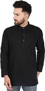 SKAVIJ Men's Tunic Cotton Button Down Kurta Shirt Regular Fit
