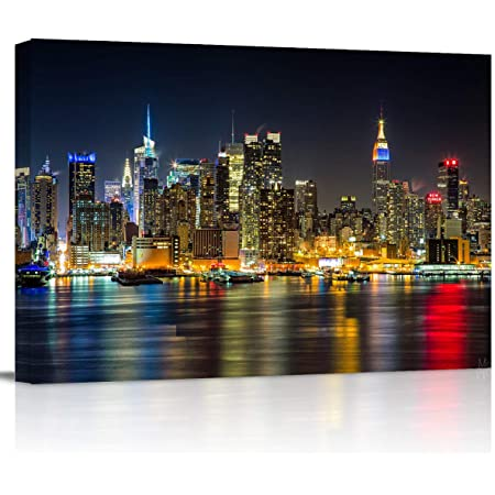 Amazon Com Canvas Wall Art Night View Of Manhattan City Modern Wall Decor Gallery Canvas Wraps Giclee Print Stretched And Framed Ready To Hang 12 X 16 Posters Prints