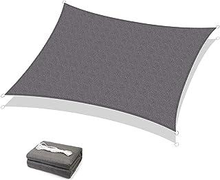 Sekey Toldo Vela de Sombra Rectangular HDPE Protección Rayos UV Resistente Permeable Transpirable para Patio, Exteriores, Jardín, 3× 4m Antracita, con Cuerda Libre