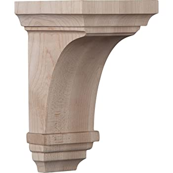 6-Pack , Red Oak Ekena Millwork COR04X04X12ARRO-CASE-6 4 inch W x 4 inch D x 12 inch H Arts /& Crafts Corbel