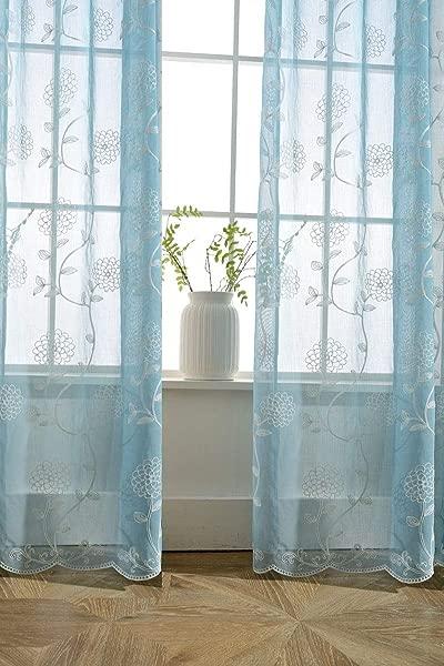 TIYANA 蓝色透明窗帘 63 英寸长杆口袋顶部卧室客厅 1 面板