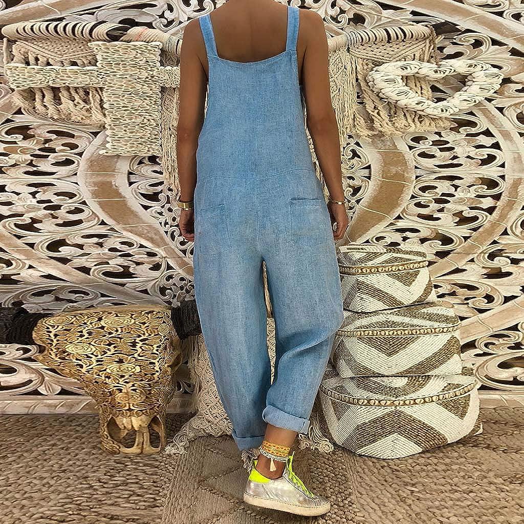 Dainzuy Denim Overalls for Women Loose Summer Sleeveless Baggy Denim Wide Leg Jumpsuit Rompers Overalls Jeans Pants