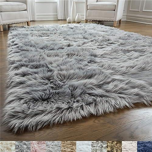 Alfombra de piel sintética, suave, para la sala, rectangular, para recámara, agradable al tacto, decoración moderna d...