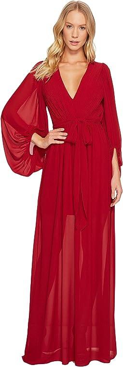 Halston Heritage - Full Sleeve V-Neck Plisse Gown