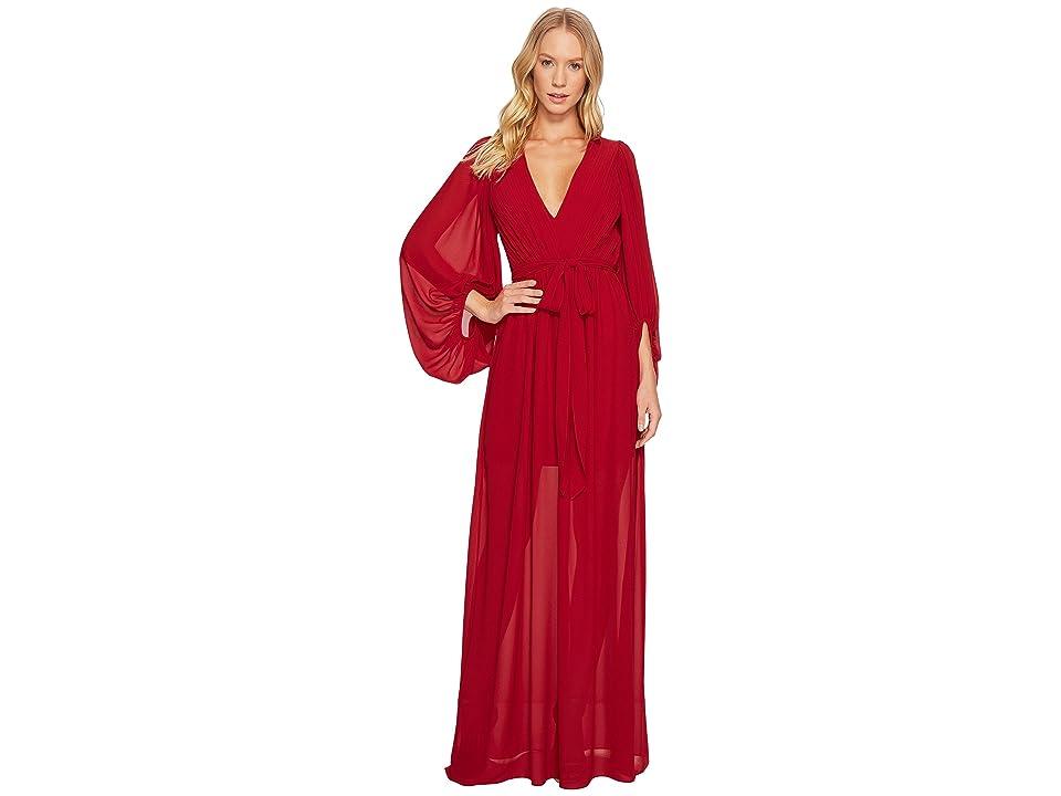 Halston Heritage Full Sleeve V-Neck Plisse Gown (Crimson) Women