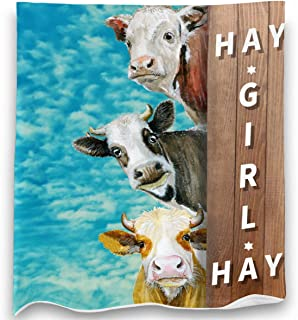Loong Design Cow Throw Blanket Super Soft, Fluffy, Premium Sherpa Fleece Blanket 50`` x 60`` Fit for Sofa Chair Bed Office Travelling Camping Gift