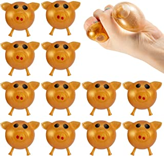 Biubee 12 Pack Antistress Pig Splat Ball Vent Toy- Stress Relief Squeeze Squishy Golden Pig Splat Ball Tricky Toy, Decompression Sticky Stretchy Funny Smash Pig Venting Water Balls for Kids and Adults