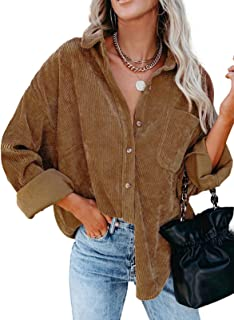 Actloe Womens Corduroy Shirts Long Sleeve Button Down Blouses Top Oversized Jacket with Pockets