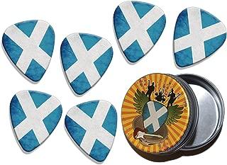 Scotland St Andrews Cross Scotland Grunge Flag 6 X Logo Guitar Picks & Stash Tin (GD)