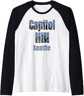 Seattle Skyline, Capitol Hill Neighborhood Shirt Raglan Baseball Tee