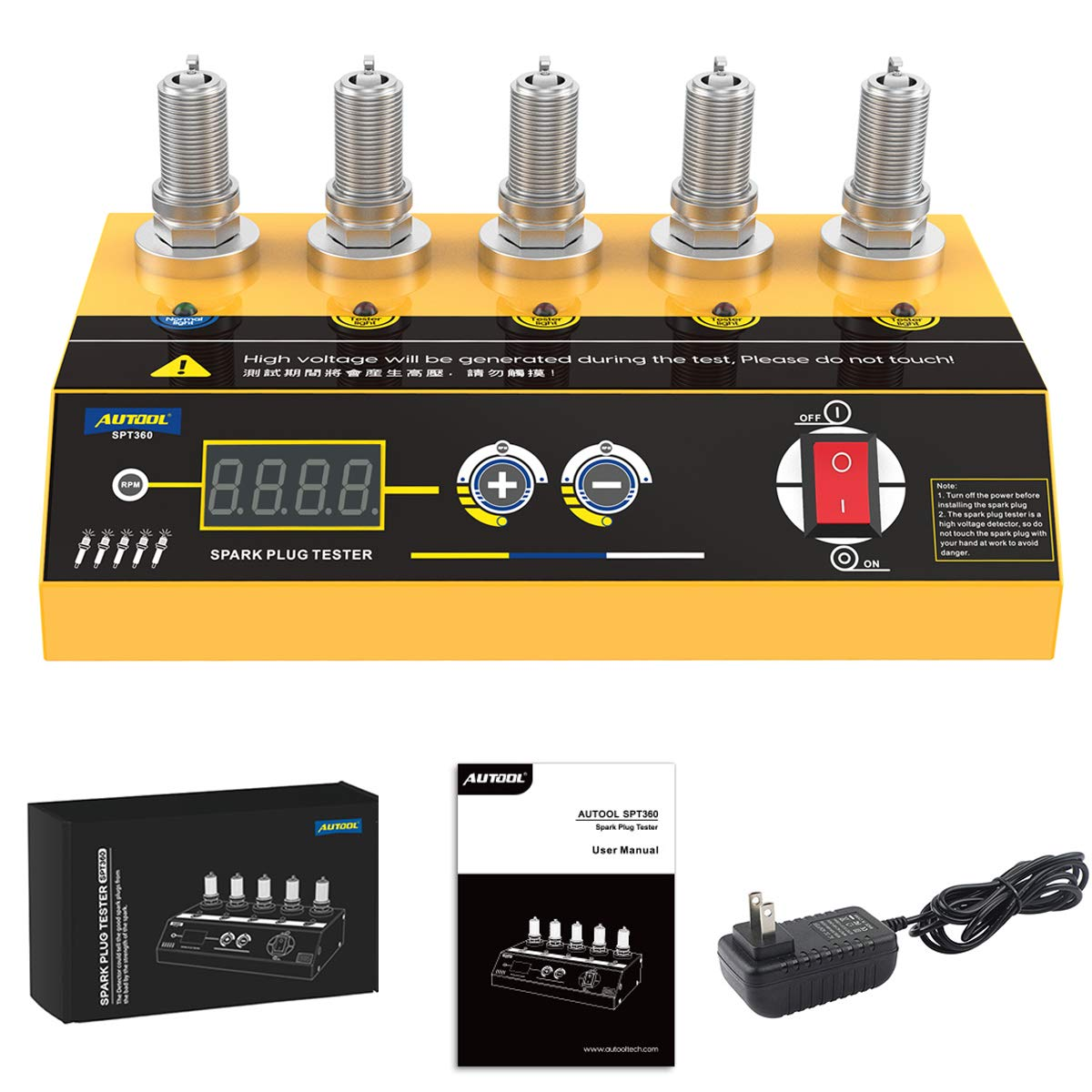 excellence Spark Plug Tester SPT360 with Import 5 Dual Hole Test Adjustable holes