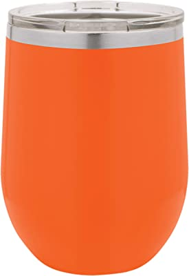 Clear Water Home Goods - 12 oz Stainless Steel Wine Tumbler with Lid, Stemless Vacuum Insulated Double Wall 18/8, Powder Coated - Orange
