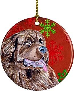 Caroline's Treasures LH9309-CO1 Newfoundland Red Snowflake Holiday Christmas Ceramic Ornament, Multicolor