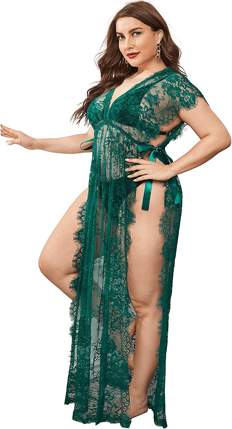 Romwe Women's Plus Size Lace See Through Babydoll Lingerie Split Long Nightdress with Thong