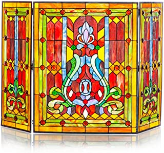 River of Goods Fireplace Screen: Stained Glass Tiffany Style Screens - Gas & Wood Burning Fireplaces