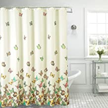YJ YANJUN Butterfly Shower Curtain - Waterproof Fabric Shower Curtain for Bathroom with 12 Hooks 72x72 Inch 1 Panel