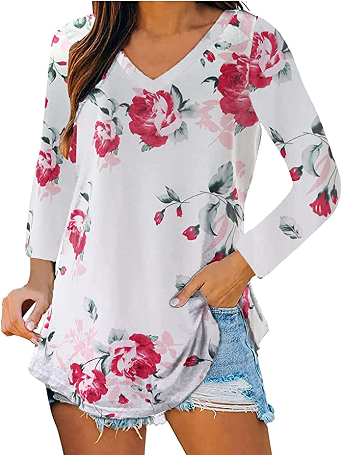 Casual Fall Tops for Women Long Sleeve Shirts Loose V Neck Blouses Fashion Floral Print Pullover Sweatshirt