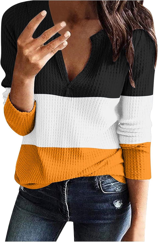 iQKA Women Color Block Sweatshirt Sexy V Neck Long Sleeve Pullover Tops Fall Daily Holiday Shirt Blouse