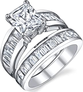 Sterling Silver 3 Carat Radiant Cut Cubic Zirconia Engagement Ring Wedding Bridal Set Rings With CZ