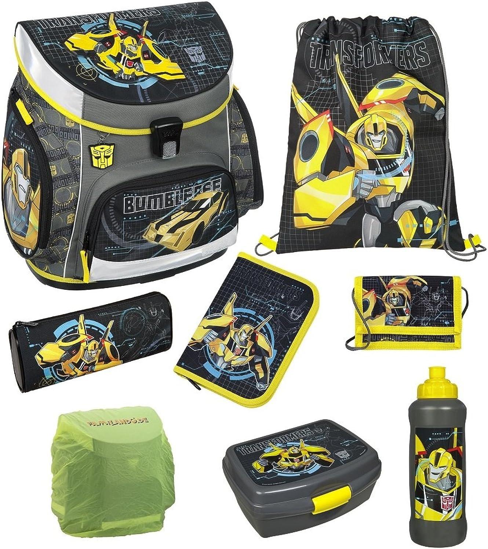 Familando Transformers Bumblebee Schulranzen-Set 8tlg. mit Federmappe, Dose, Flasche und Regenschutz