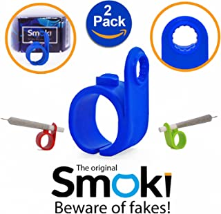 Smoki Roll Holder Ring 2 Pack   Flexible & Comfy Silicone, Ergonomic Design, Heat & Shock Proof Hands Free Rings   Protect Your Hands, Prevent Yellow Stains, Minimize Smell & Enjoy (Black&Red)