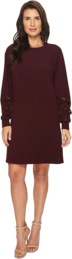 TWO by Vince Camuto - Long Tie Sleeve French Terry Dress with Grommets