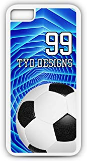 Cell Phone Case Fits iPhone Models 6s or 6 Create Your Own Soccer SC1046 with Player Jersey Number and/Or Name Or Team Name Customizable by TYD Designs in White Rubber