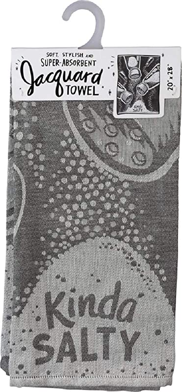 By Kathy Kinda Salty Salt Shaker Dish Towel In Gray
