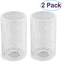 Eumyviv 2 Pack Clear Glass Lamp Shade with Crack Finish, Fixture Replacement Glass Globe or Lampshade with 1-5/8-Inch Fitter, A00014