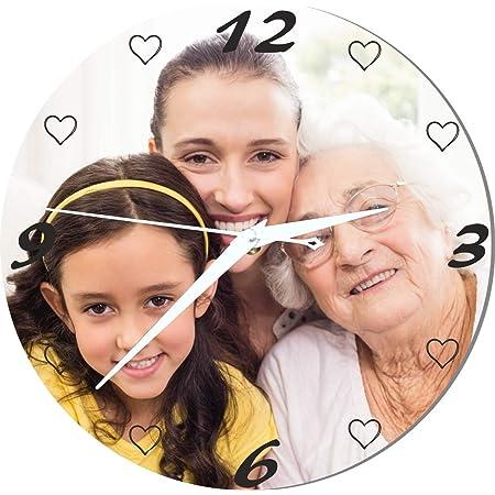Grande Horloge Personnalisée avec Votre Photo - Diamètre 28,5 cm - Mamy Cadeau Personnalisable Mamie - Cadeau fête des Grands mères J.B.