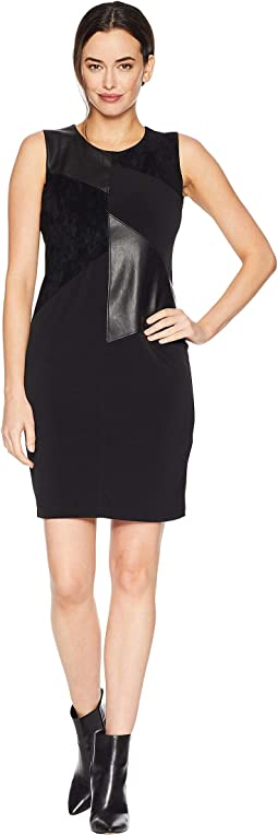 Sleeveless Dress w/ Faux Leather & Suede
