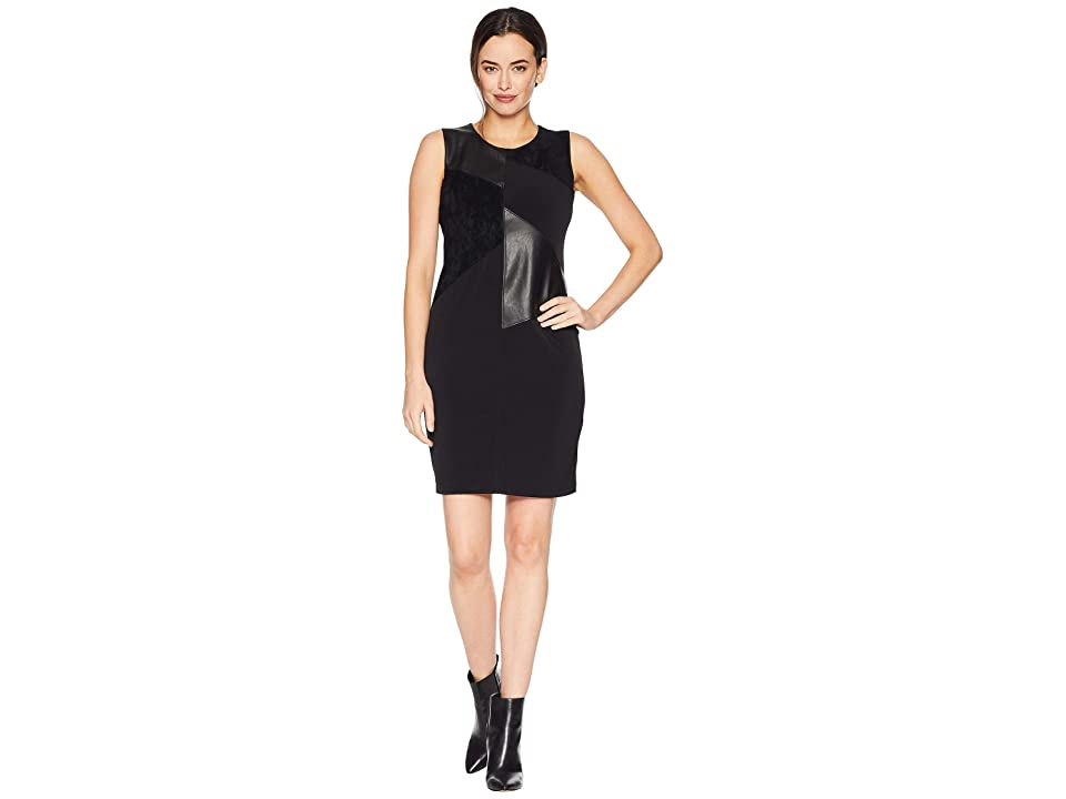 Calvin Klein Sleeveless Dress w/ Faux Leather Suede (Black) Women
