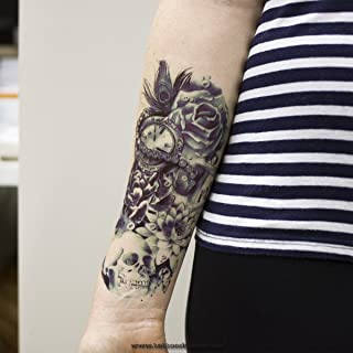 1 x ARM TATTOO SCHWARZ bis DUNKEL BLAU Temporäres Tattoo zu