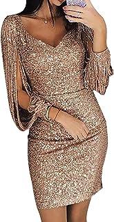 MAYOGO Festliche Kleider Abschlussball Kleider Damen Lang Gold Sequin Dress Glitzerkleid Elegant Schick Bodycon Meerjungfrau Abendkleider Off Shoulder Kleider Formelles Kleid mit Quaste Kurzarm