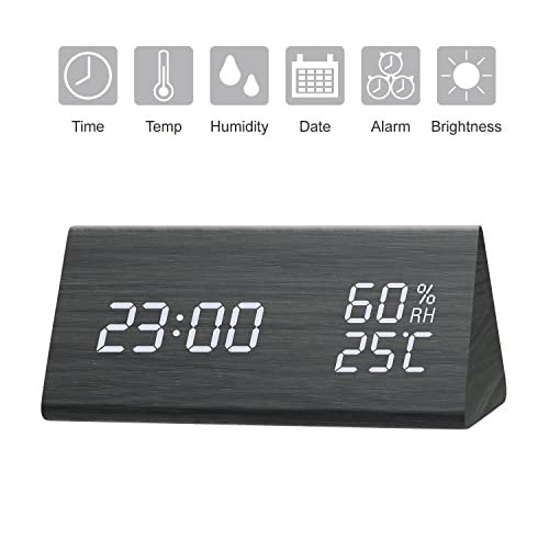StillCool Despertador de madera Reloj digital con LED con luz de fondo blanca, Brillo de