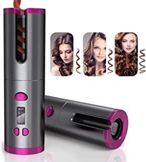 QRYY Cord-Free Portable Electric Hair L/R Rotating Curler, Wireless Automatic Curling Iron with 6 Kinds of Temperature Con...