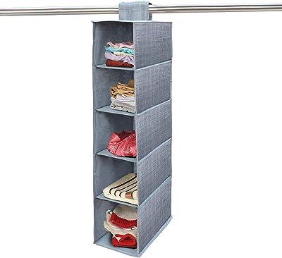 Hokipo Non-Wooven Cloth Hanging Storage Wardrobe Organizer, 5 Shelves, Grey